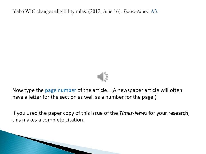 Idaho WIC changes eligibility rules. (2012, June 16).