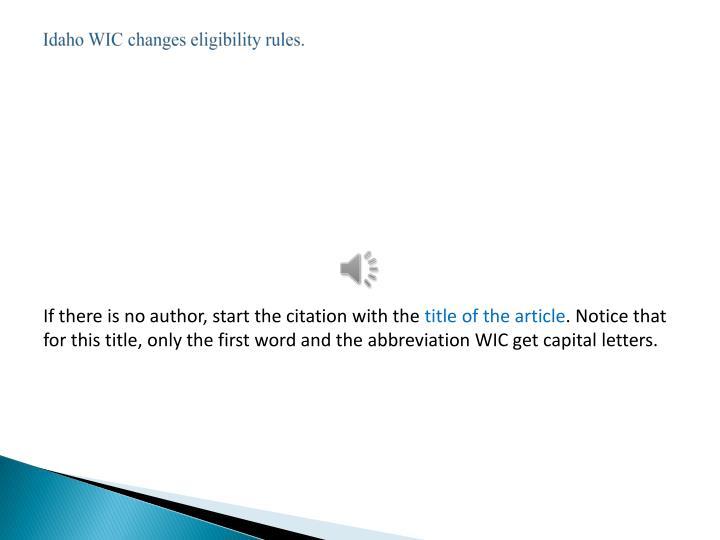 Idaho WIC changes eligibility rules.