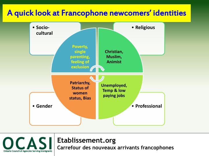 A quick look at Francophone newcomers' identities