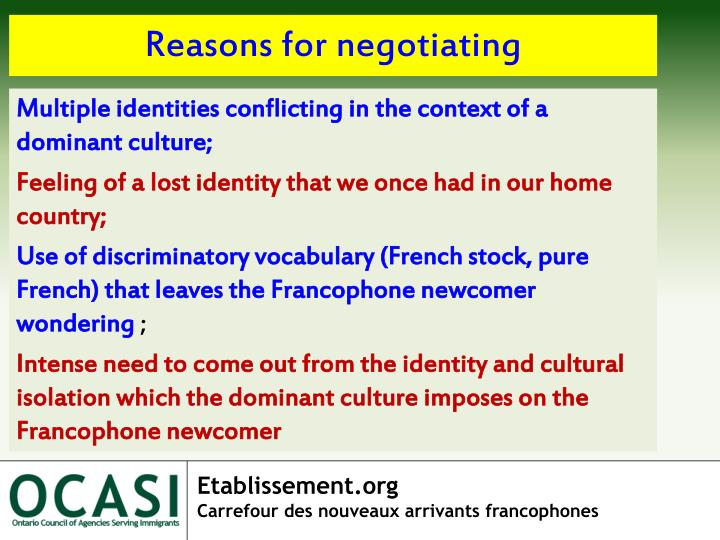 Reasons for negotiating