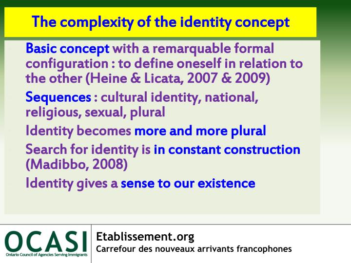 The complexity of the identity concept