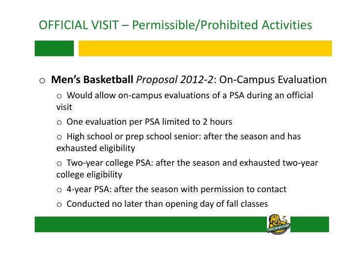 OFFICIAL VISIT – Permissible/Prohibited Activities