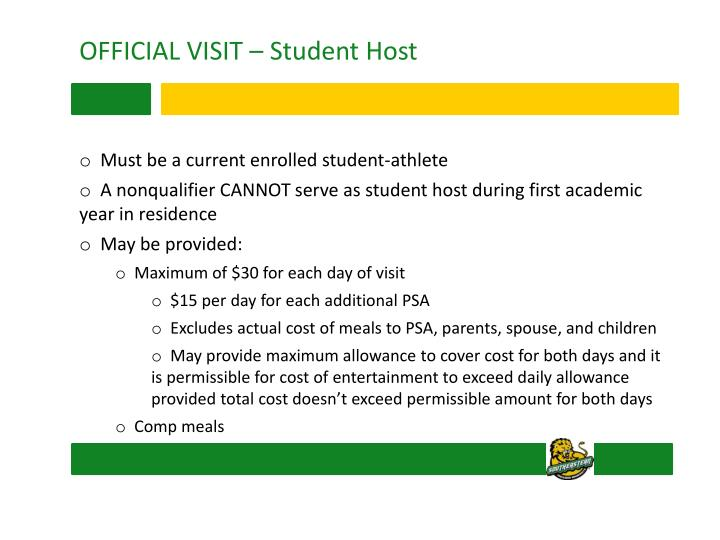 OFFICIAL VISIT – Student Host