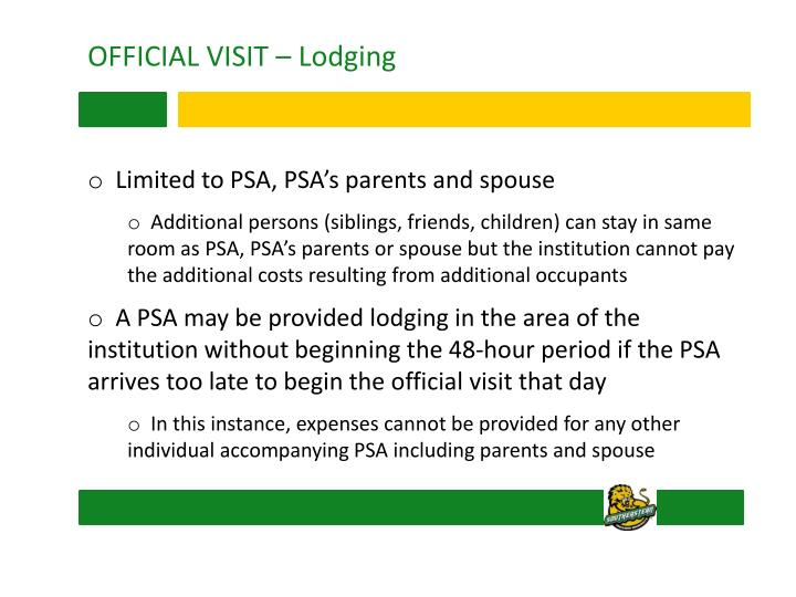 OFFICIAL VISIT – Lodging