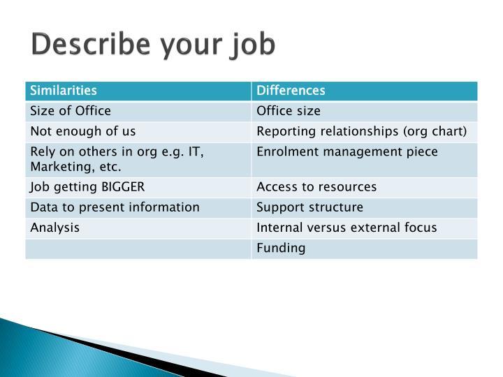 Describe your job