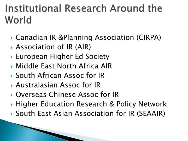 Institutional Research Around the World