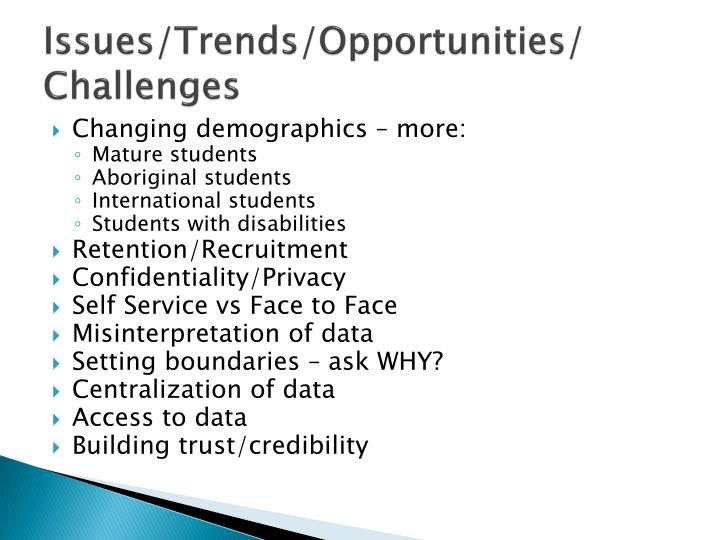 Issues/Trends/Opportunities/ Challenges