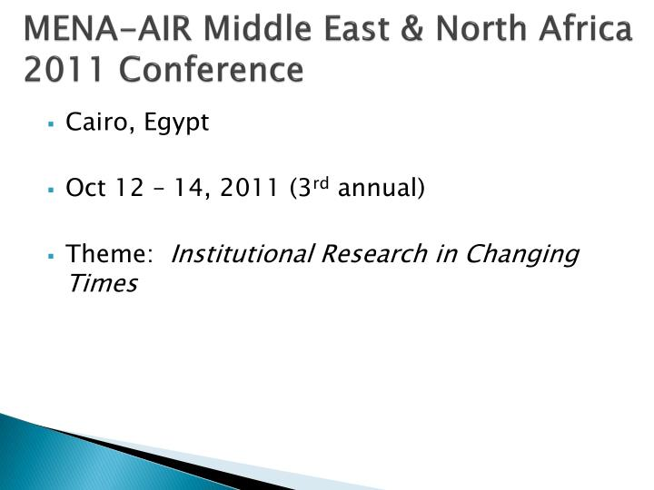 MENA-AIR Middle East & North Africa 2011 Conference