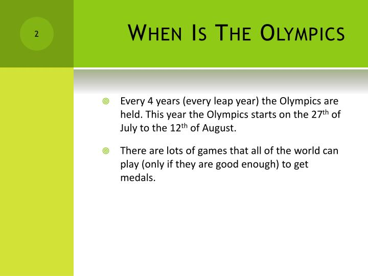When Is The Olympics