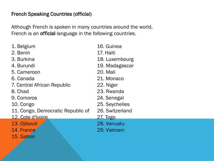 French Speaking Countries (official)