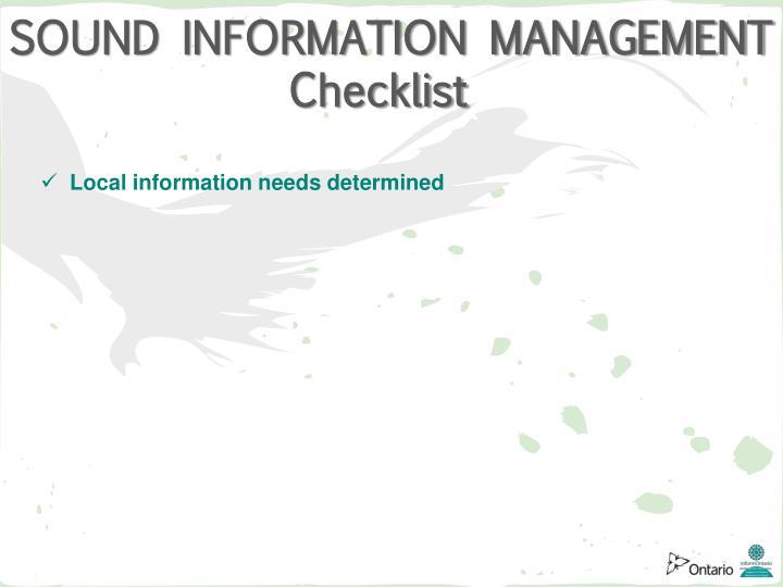 SOUND INFORMATION MANAGEMENT