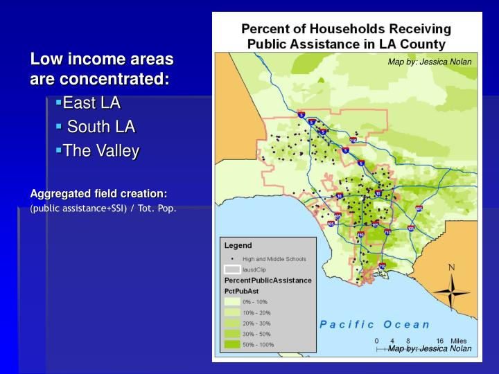 Low income areas are concentrated: