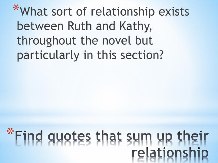 What sort of relationship exists between Ruth and Kathy, throughout the novel but particularly in this section?