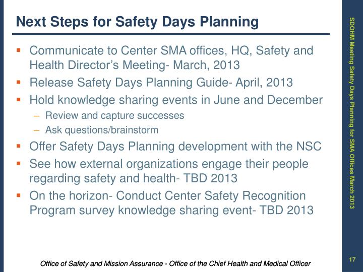 Next Steps for Safety Days Planning