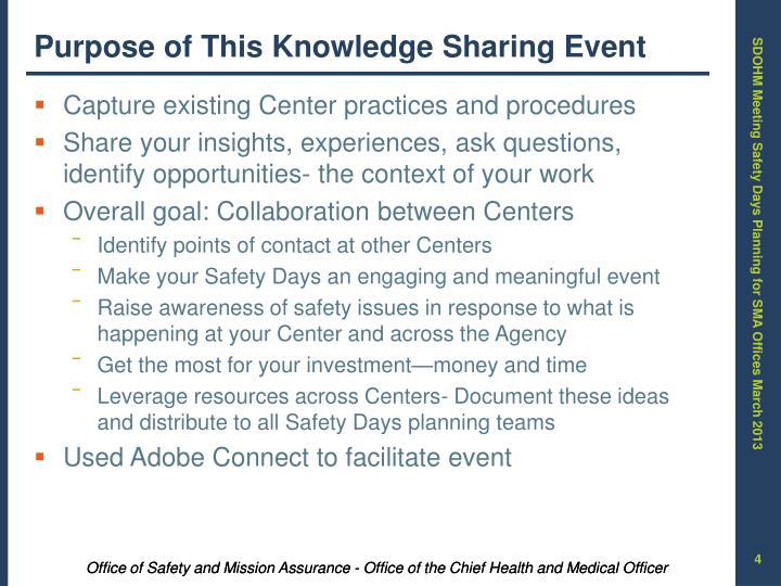 Purpose of This Knowledge Sharing Event