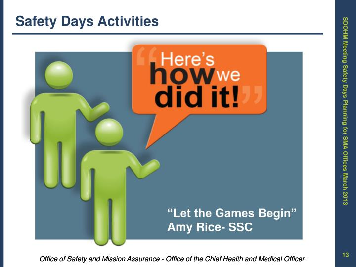 Safety Days Activities