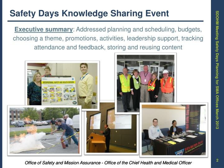 Safety Days Knowledge Sharing Event