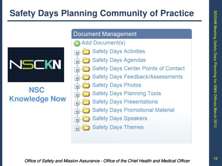 Safety Days Planning Community of Practice