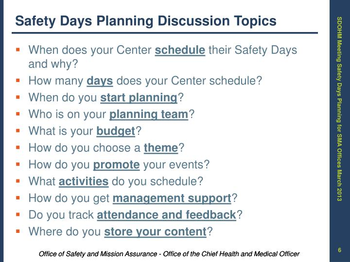 Safety Days Planning Discussion Topics