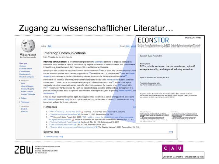 Zugang zu wissenschaftlicher Literatur…