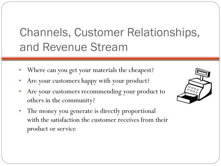 Channels, Customer Relationships, and Revenue Stream