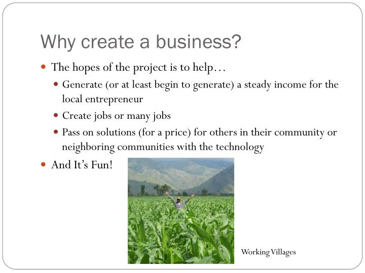Why create a business?