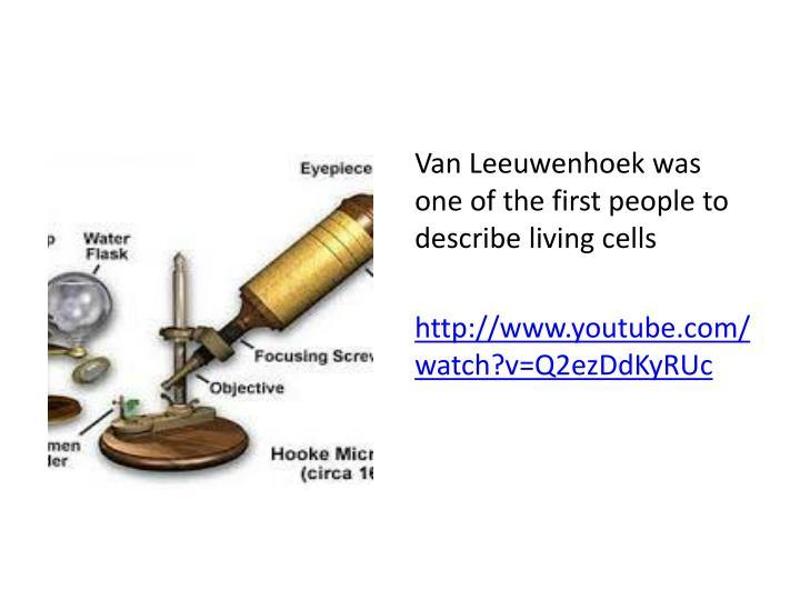 Van Leeuwenhoek was one of the first people to describe living cells