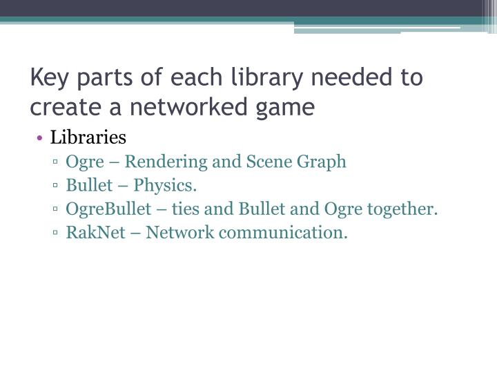 Key parts of each library needed to create a networked game