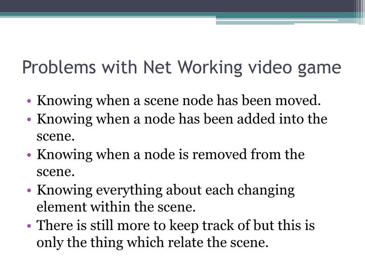 Problems with Net Working video game