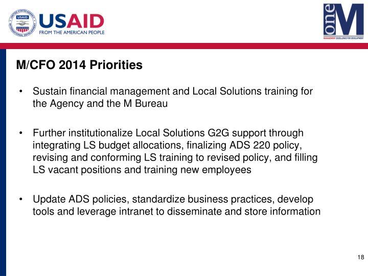M/CFO 2014 Priorities
