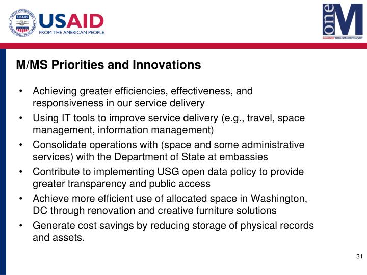M/MS Priorities and Innovations