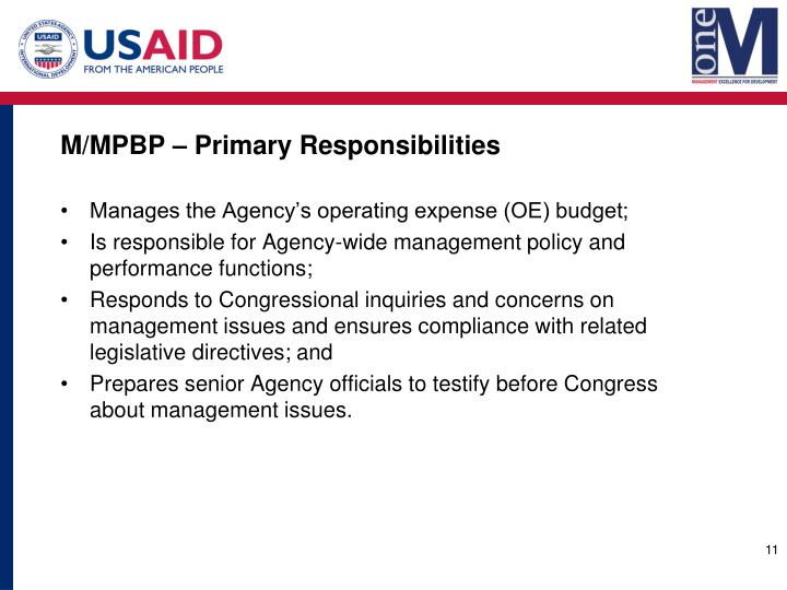 M/MPBP – Primary Responsibilities