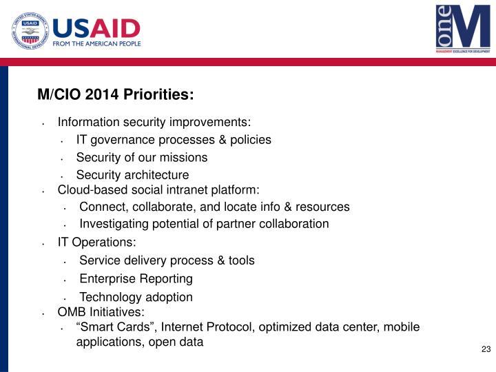 M/CIO 2014 Priorities: