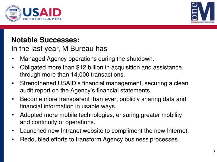 Notable Successes: