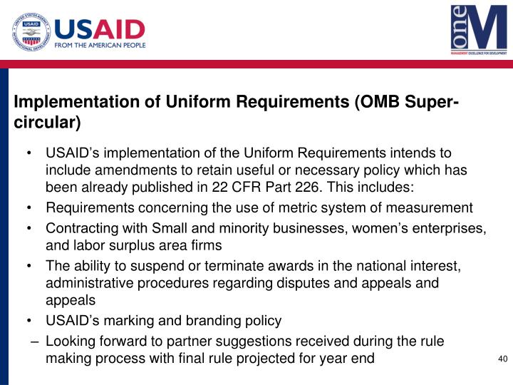 Implementation of Uniform Requirements (OMB Super-circular)