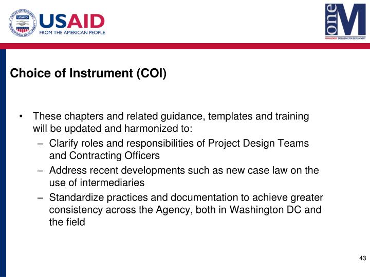 Choice of Instrument (COI)