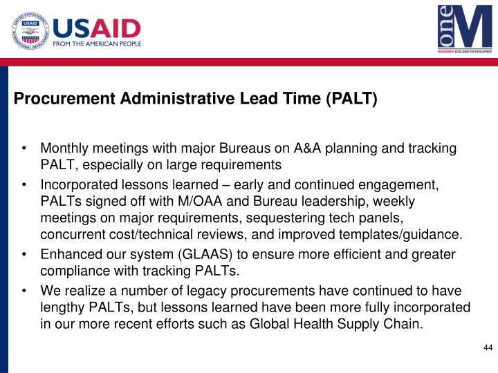 Procurement Administrative Lead Time (PALT)