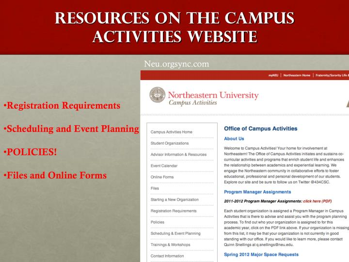Resources on the Campus Activities Website