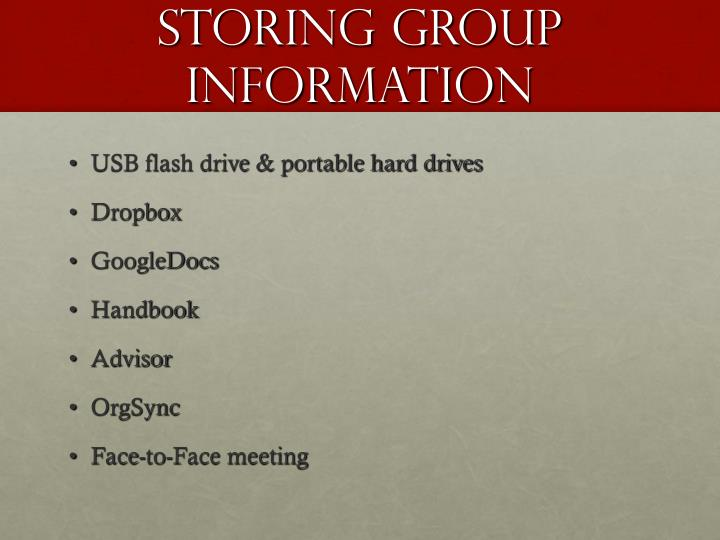 Storing Group Information