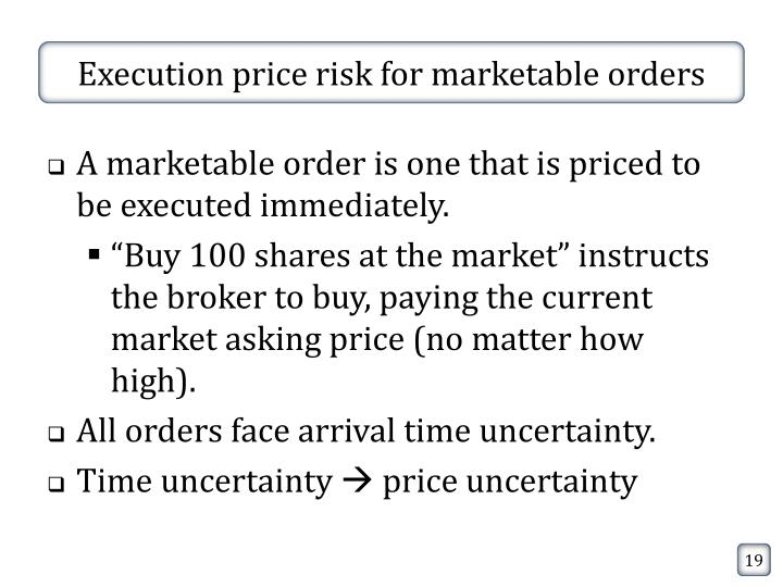 Execution price risk for marketable orders