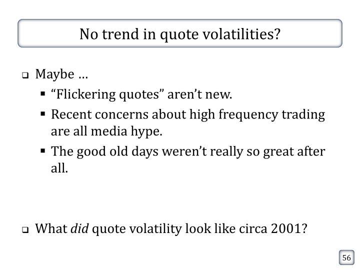 No trend in quote volatilities?