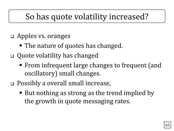 So has quote volatility increased?