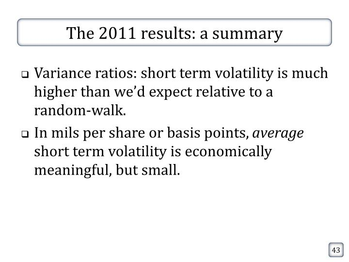The 2011 results: a summary