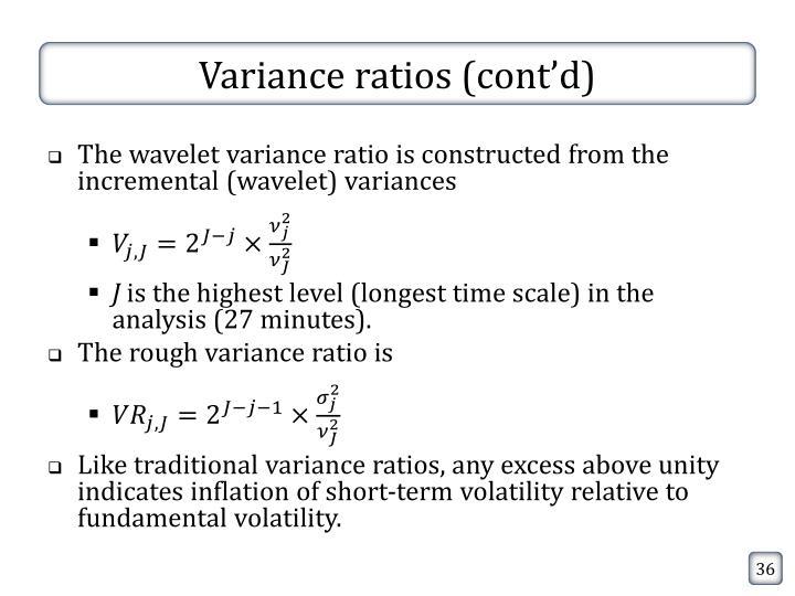 Variance ratios (cont'd)