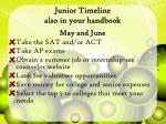 junior timeline also in your handbook