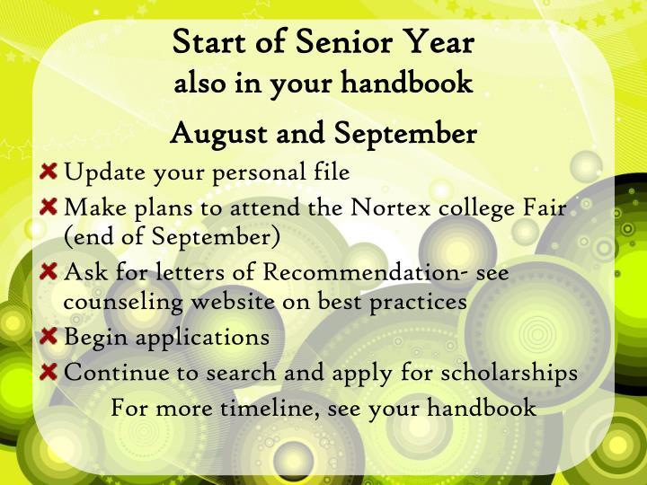 Start of Senior Year