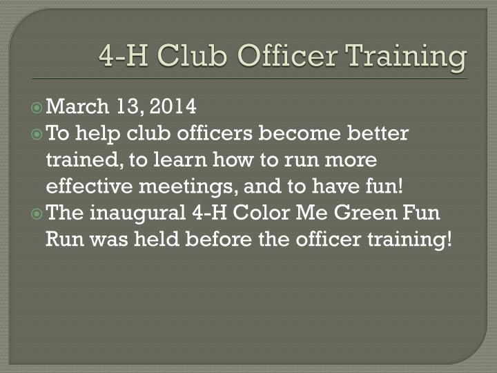 4 h club officer training