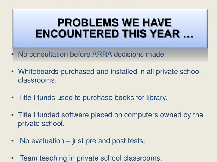 PROBLEMS WE HAVE ENCOUNTERED THIS YEAR …