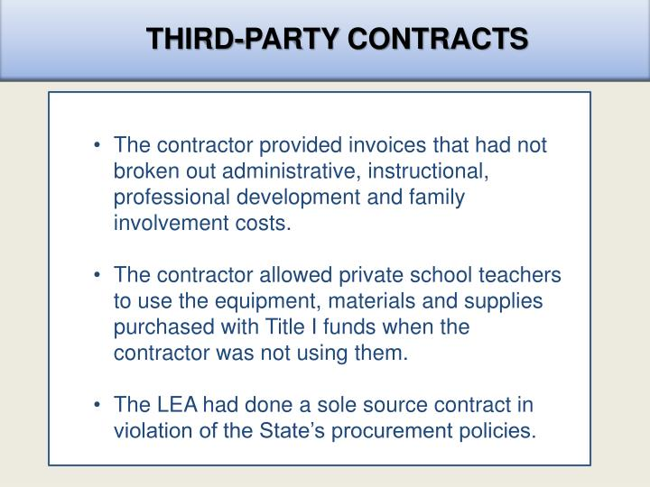THIRD-PARTY CONTRACTS