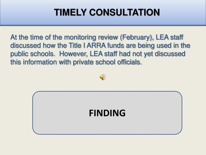 TIMELY CONSULTATION